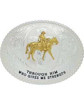 Montana Silversmiths Men's Gives Me Strength Belt Buckle , Silver, hi-res