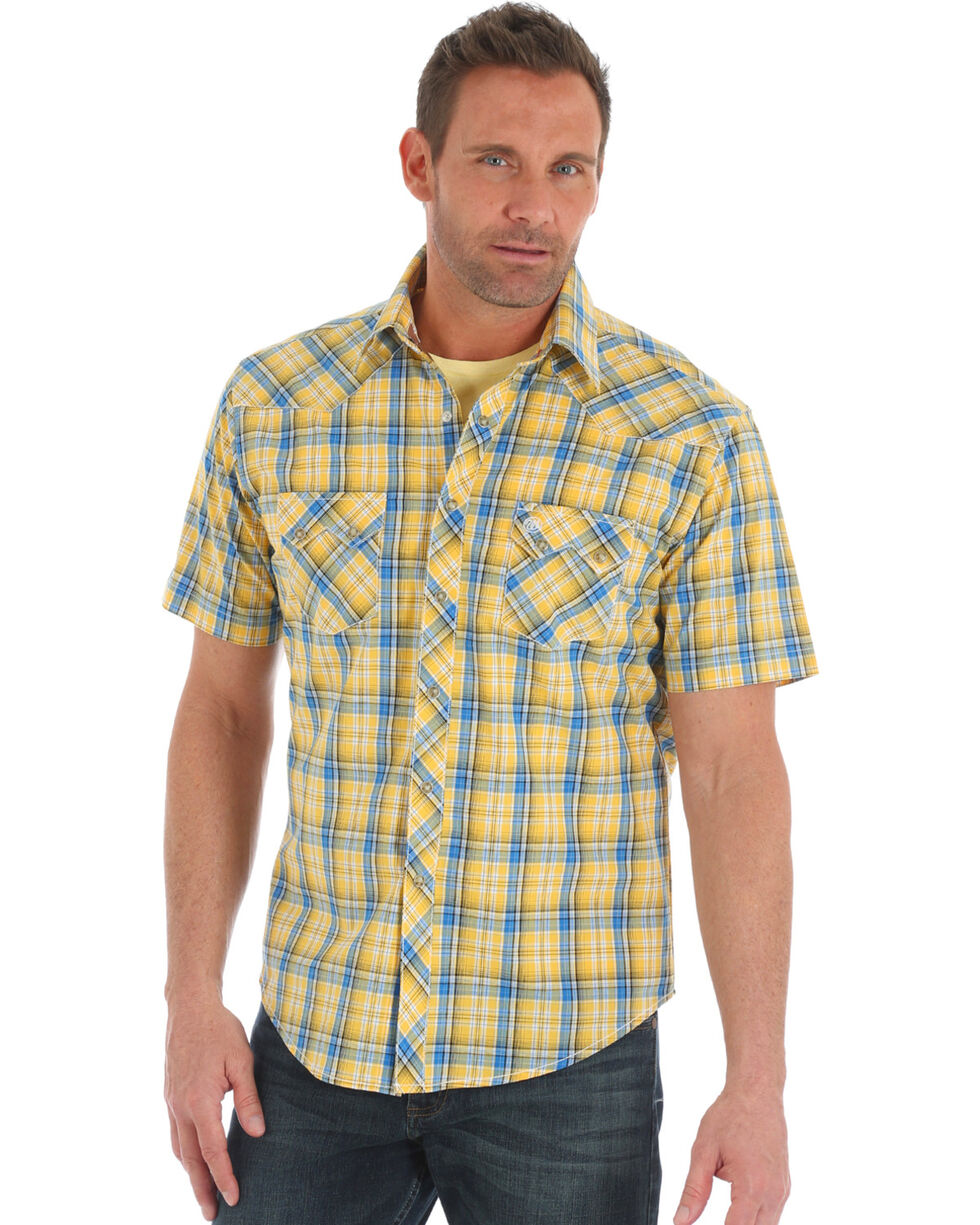 Wrangler Retro Men's Yellow Plaid Sawtooth Pocket Short Sleeve Shirt , Yellow, hi-res