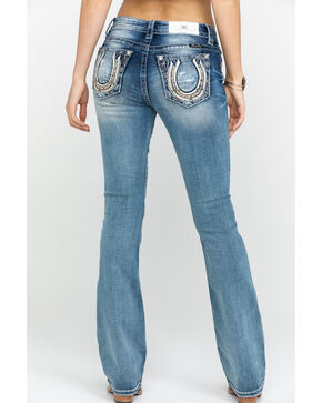 """Miss Me Women's Lucky Girl Horseshoe Boot Cut 34"""" Inseam Jeans, Blue, hi-res"""