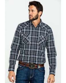Wrangler Retro Men's Black Med Plaid Long Sleeve Western Shirt , Black, hi-res
