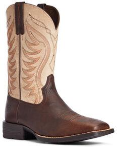 Ariat Men's Amos Barley Western Boots - Wide Square Toe, Tan, hi-res