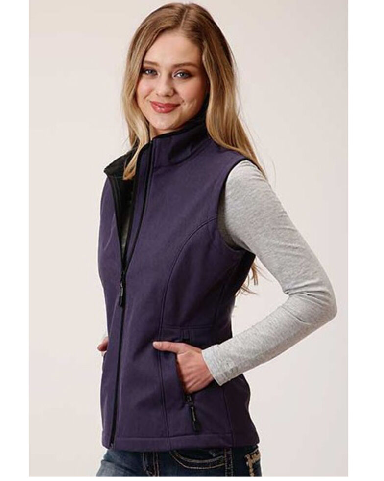 Roper Women's Purple Soft Shell Bonded Fleece Lined Vest, Purple, hi-res