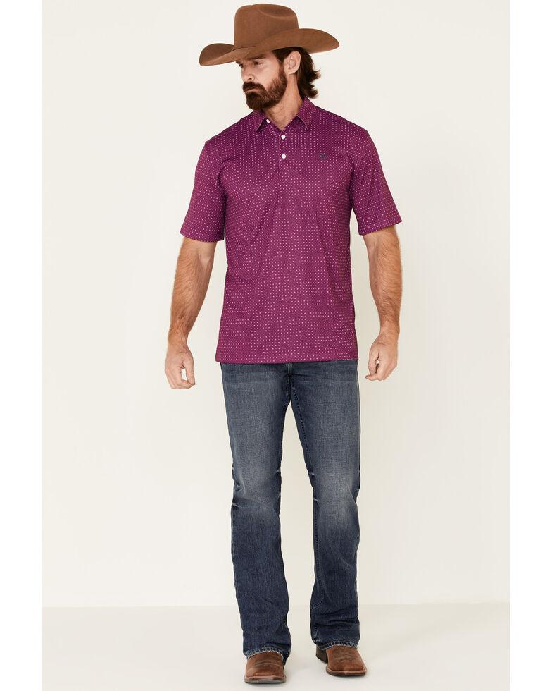 Ariat Men's Imperial Violet Geo Print Short Sleeve Polo Shirt , Purple, hi-res
