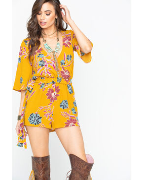 Shyanne Women's Floral Surplice Romper , Dark Yellow, hi-res