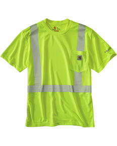 Carhartt Force High-Viz Short Sleeve Class 2 T-Shirt - Big & Tall, Lime, hi-res