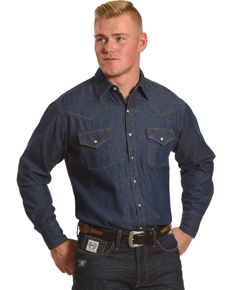 Ely Cattleman Men's Solid Denim Long Sleeve Snap Shirt, Dark Blue, hi-res