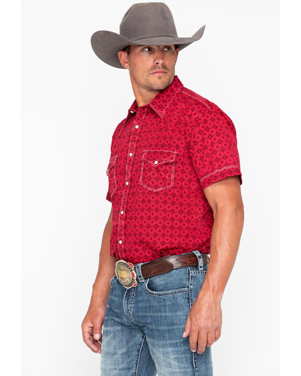 Rock & Roll Cowboy Men's Crinkle Diamond Print Short Sleeve Western Shirt , Red, hi-res