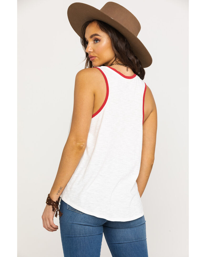 Shyanne Women's Texas State Of Mind Racer Back Tank Top, White, hi-res