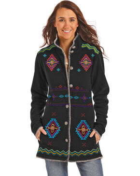 Powder River Outfitters Women's Black Aztec Embroidered Fleece Jacket , Black, hi-res