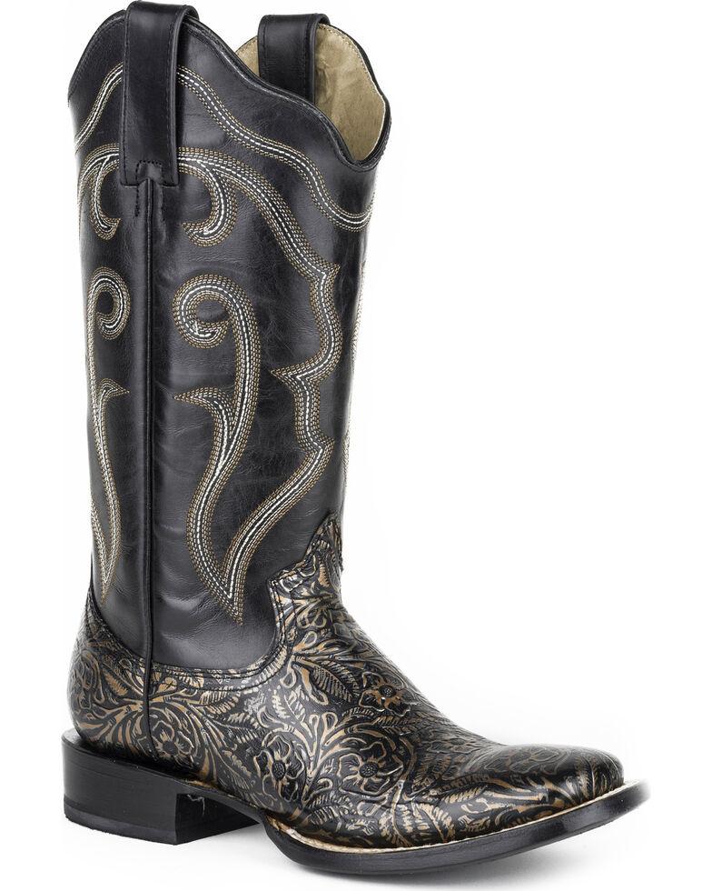 Roper Women's Black Floral Western Boots - Square Toe , Black, hi-res