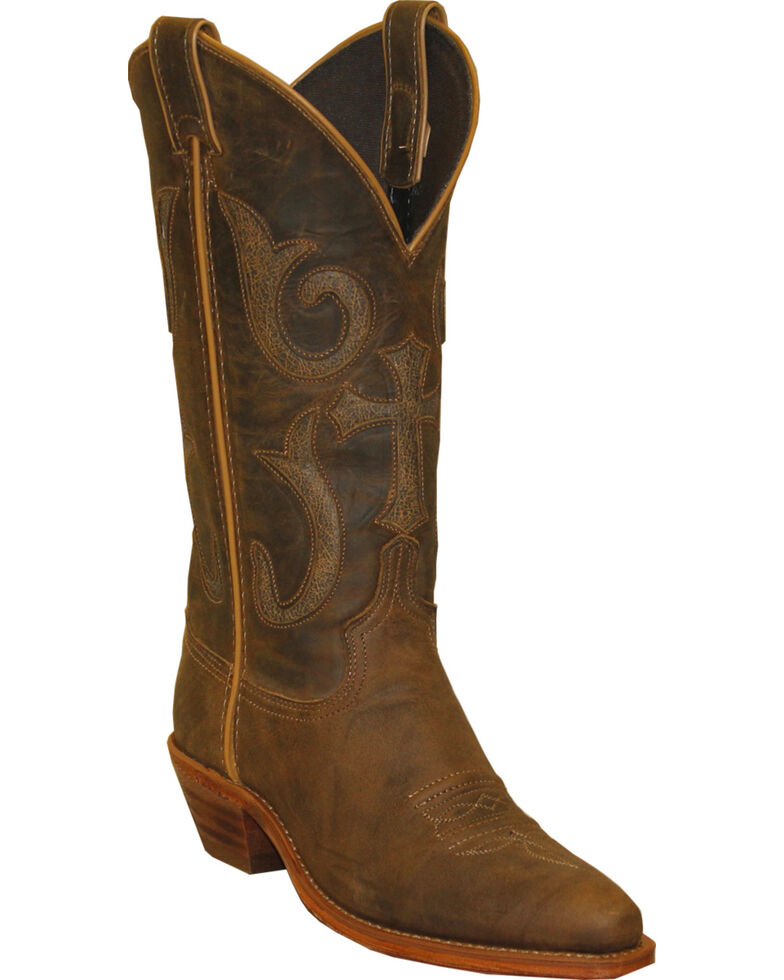 Abilene Boots Women's Western Cross Cowgirl Boots - Snip Toe, Brown, hi-res
