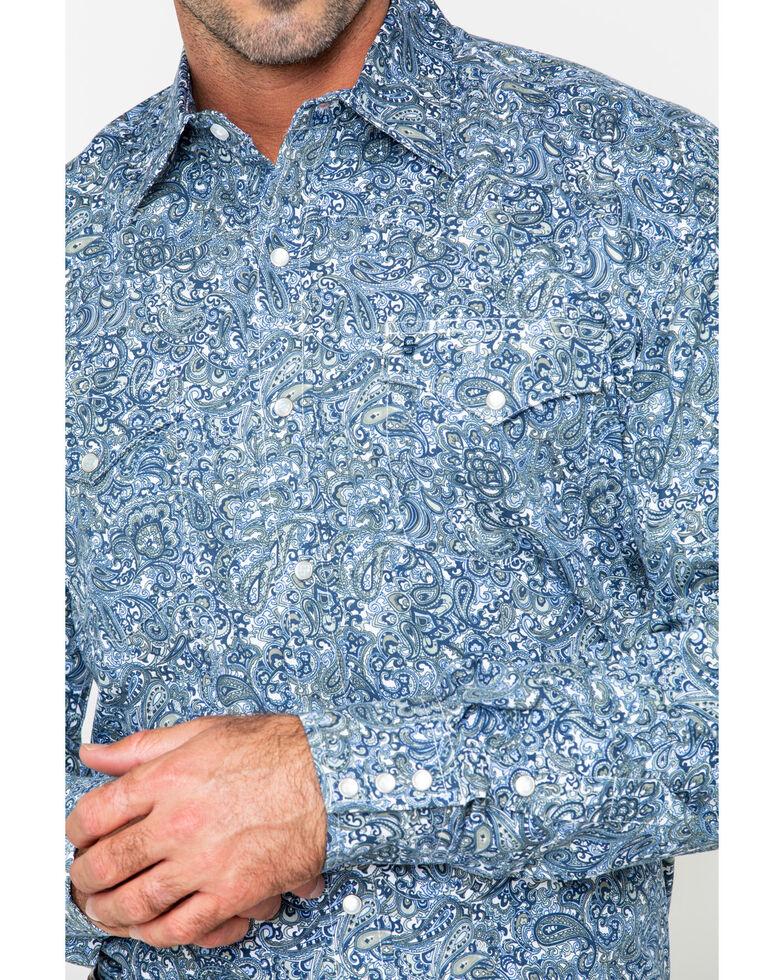 Roper Men's Large Paisley Print Snap Long Sleeve Western Shirt , Blue, hi-res