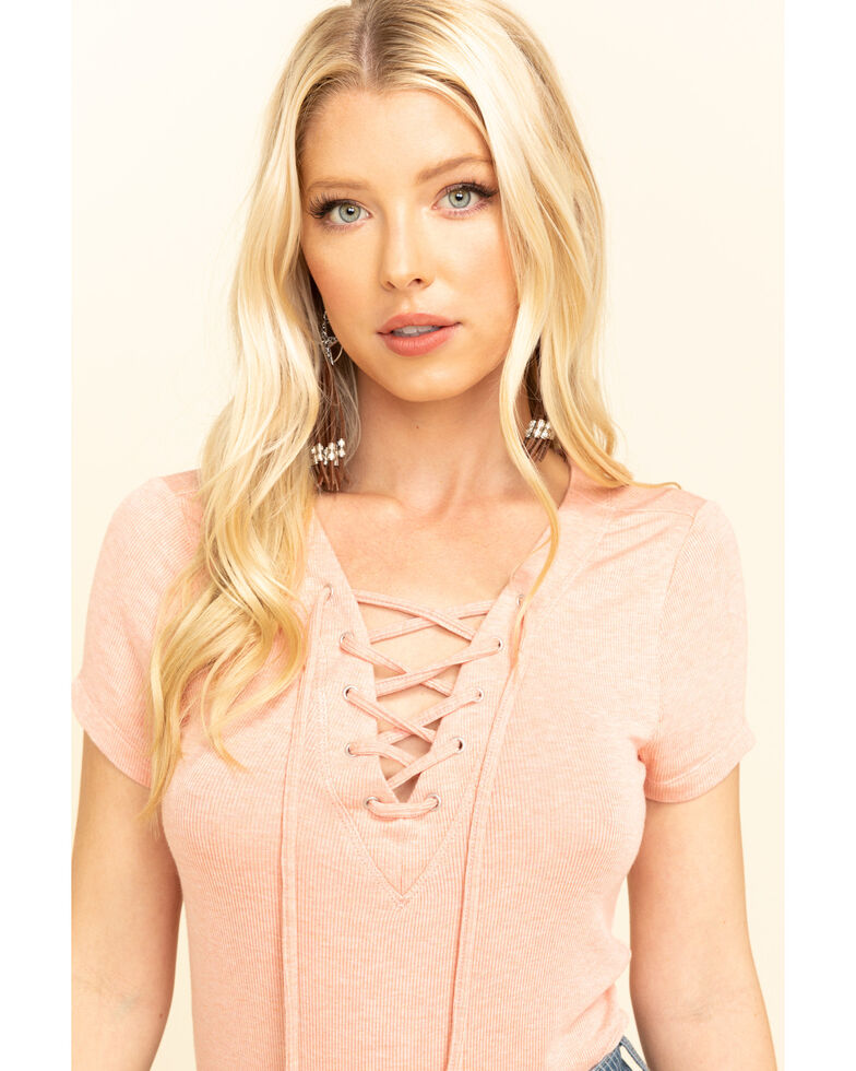 Idyllwind Women's Free Ride Henley Top, Coral, hi-res