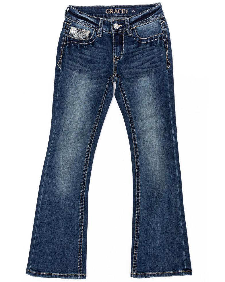 Grace in LA Girls' Medium Embellished Bootcut Jeans, Blue, hi-res