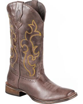 Roper Dark Brown Cowgirl Boots - Square Toe, Brown, hi-res