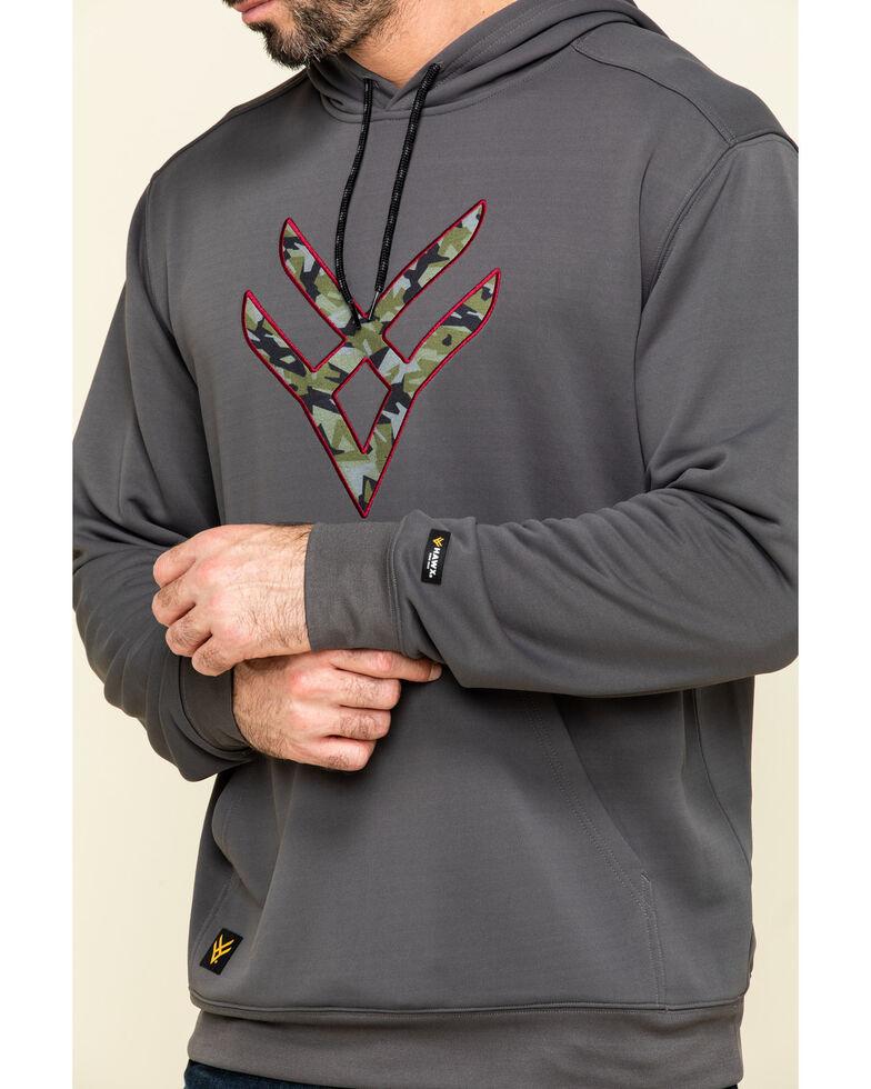 Hawx Men's Grey Tech Logo Hooded Work Sweatshirt - Tall , Dark Grey, hi-res