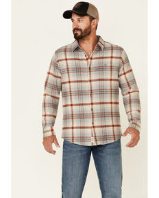 Flag & Anthem Men's Cream Ironwood Plaid Button-Down Heavy Flannel Shirt Jacket , Cream, hi-res