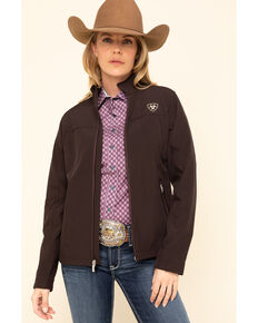 Ariat Women's Coffee Bean & Leopard New Team Softshell Jacket, Coffee, hi-res