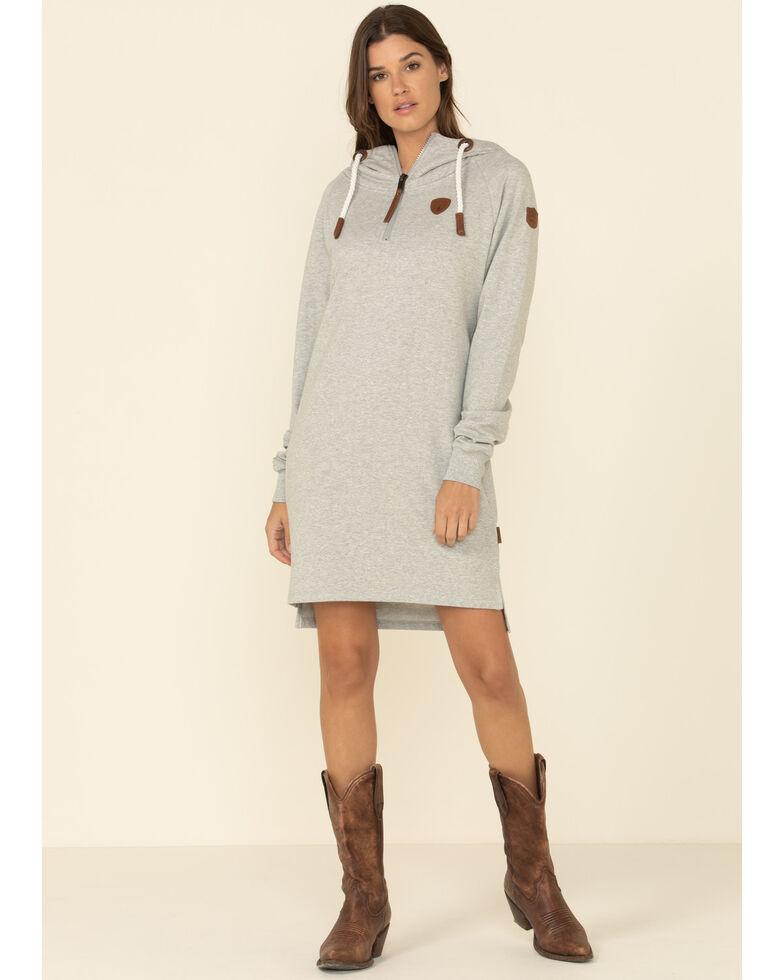Wanakome Women's Half Zip Hoodie Dress, Heather Grey, hi-res
