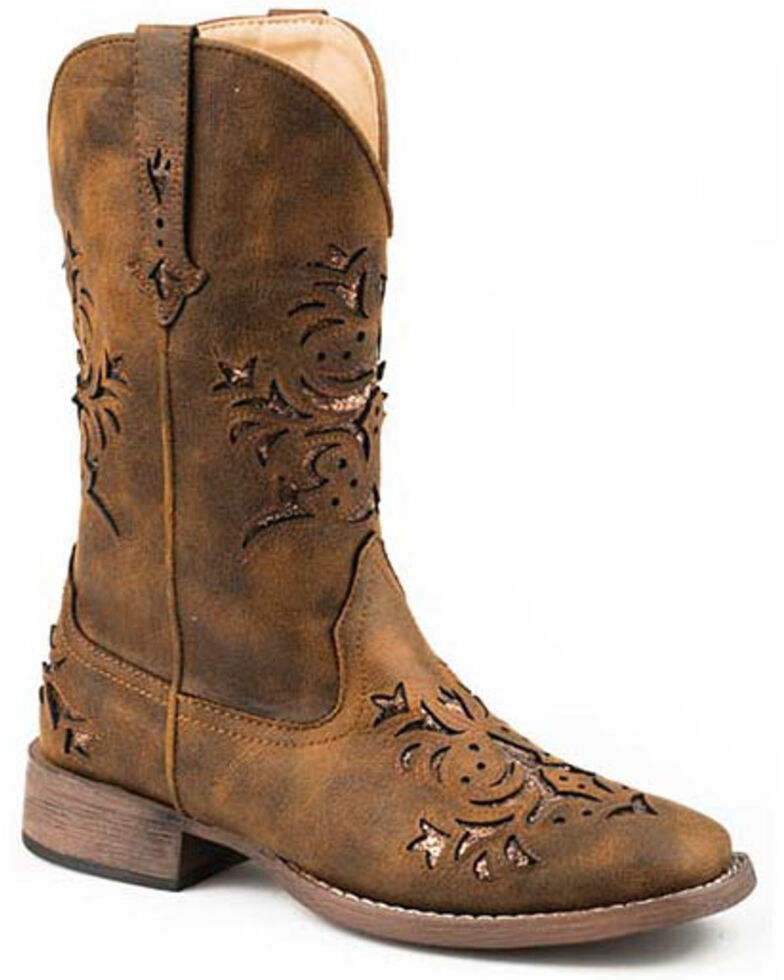Roper Women's Kennedy Western Boots - Square Toe, Brown, hi-res