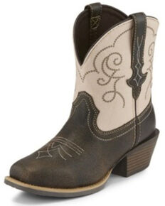 Justin Women's Chellie Quake Brown Western Booties - Square Toe, Brown, hi-res