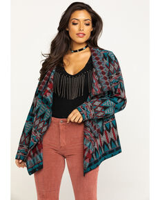 Cripple Creek Women's Navajo Open Front Blanket Wrap Cardigan, Turquoise, hi-res
