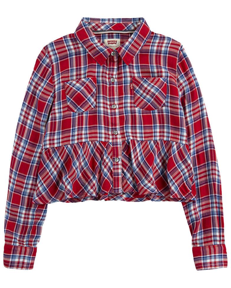 Levi's Girls' Red Plaid Peplum Hem Long Sleeve Button-Down Crop Top , Red, hi-res
