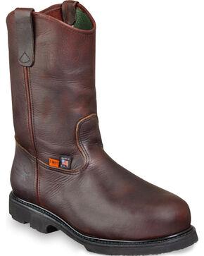 """Thorogood Men's 10"""" Metguard Wellington Work Boots - Steel Toe, Dark Brown, hi-res"""