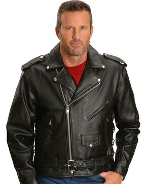 Interstate Leather Motorcycle Jacket, Black, hi-res