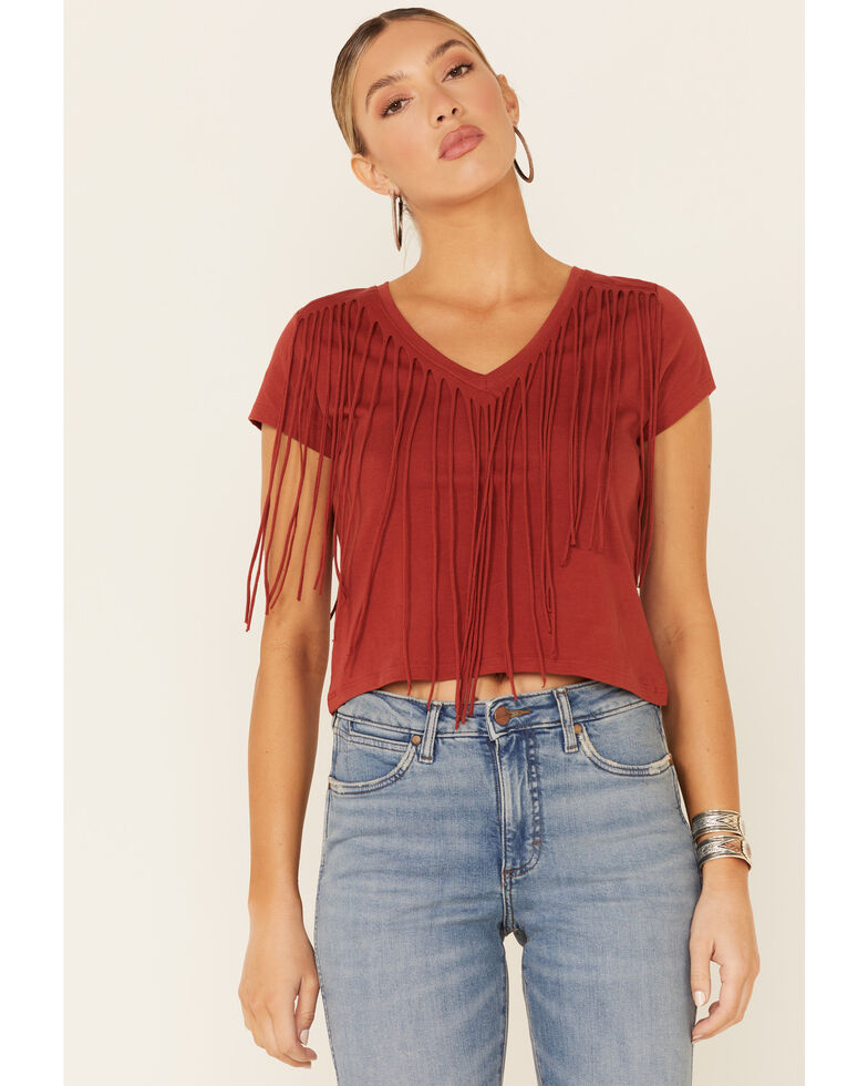 Shyanne Women's Solid Chili Fringe Short Sleeve Tee , Chilli, hi-res