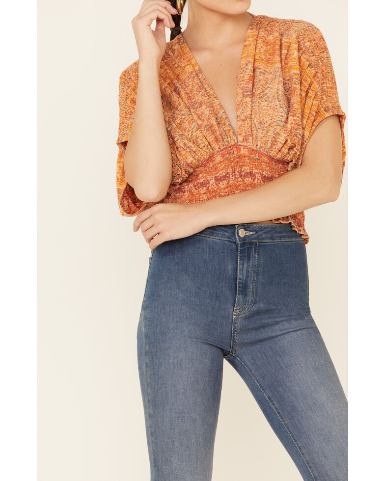 Free People Women's Next Vacation Printed Short Sleeve Top, Peach, hi-res