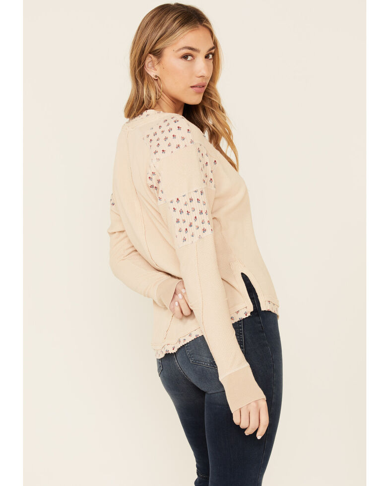 Free People Women's Heart To Heart Long Sleeve Henley Top , Ivory, hi-res