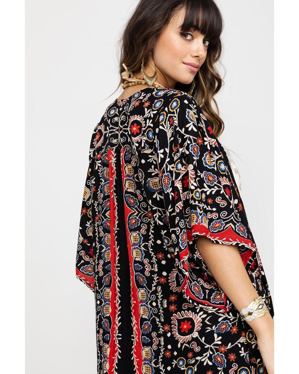 Angie Women's Boho Floral Print Kimono, Black, hi-res