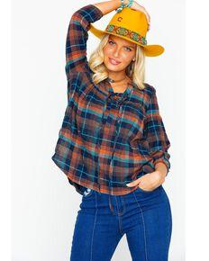 Shyanne Women's Multi Plaid Lace Up Shirt , Multi, hi-res