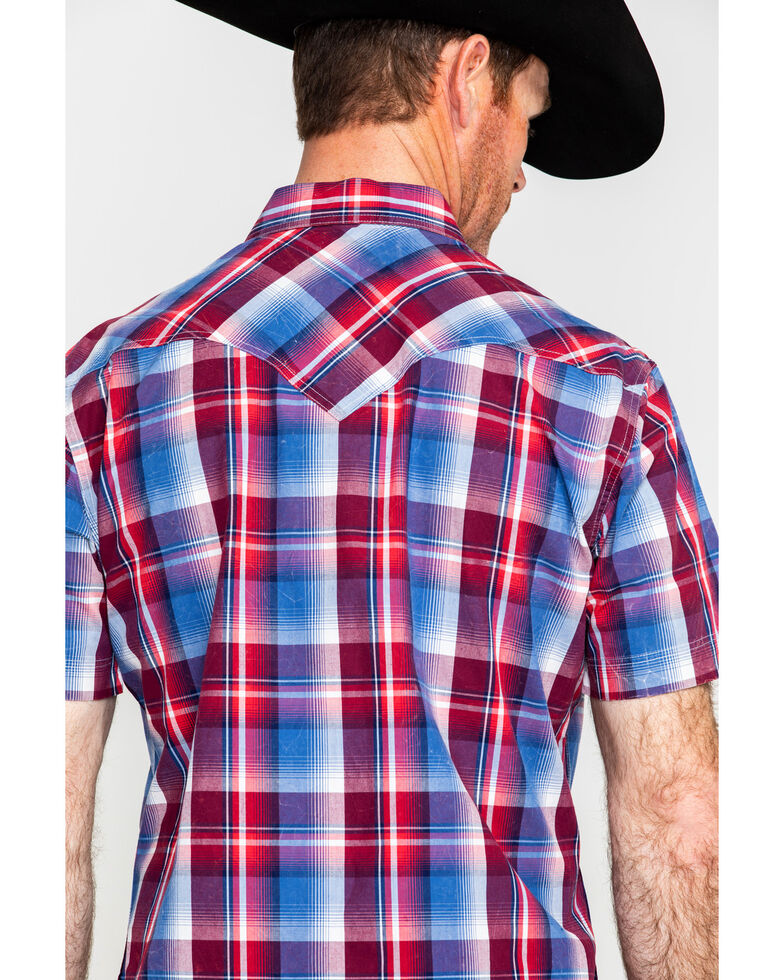 Rock & Roll Denim Men's Red Crinkle Washed Plaid Short Sleeve Western Shirt , Red, hi-res