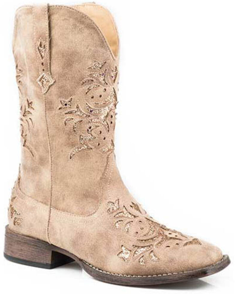 Roper Women's Kennedy Western Boots - Square Toe, Tan, hi-res