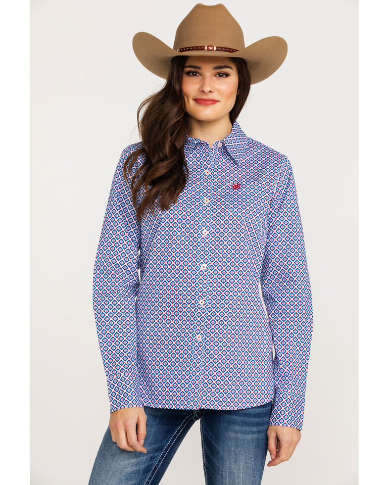 Ariat Women's Kirby Stretch Diamond Geo Print Long Sleeve Western Shirt, Blue, hi-res