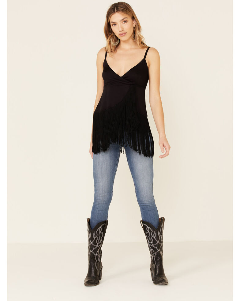 Idyllwind Women's Song Fringe Tank, Black, hi-res
