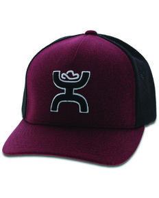 HOOey Men's Maroon Youth Logo Patch Flex Fit Ball Cap , Maroon, hi-res