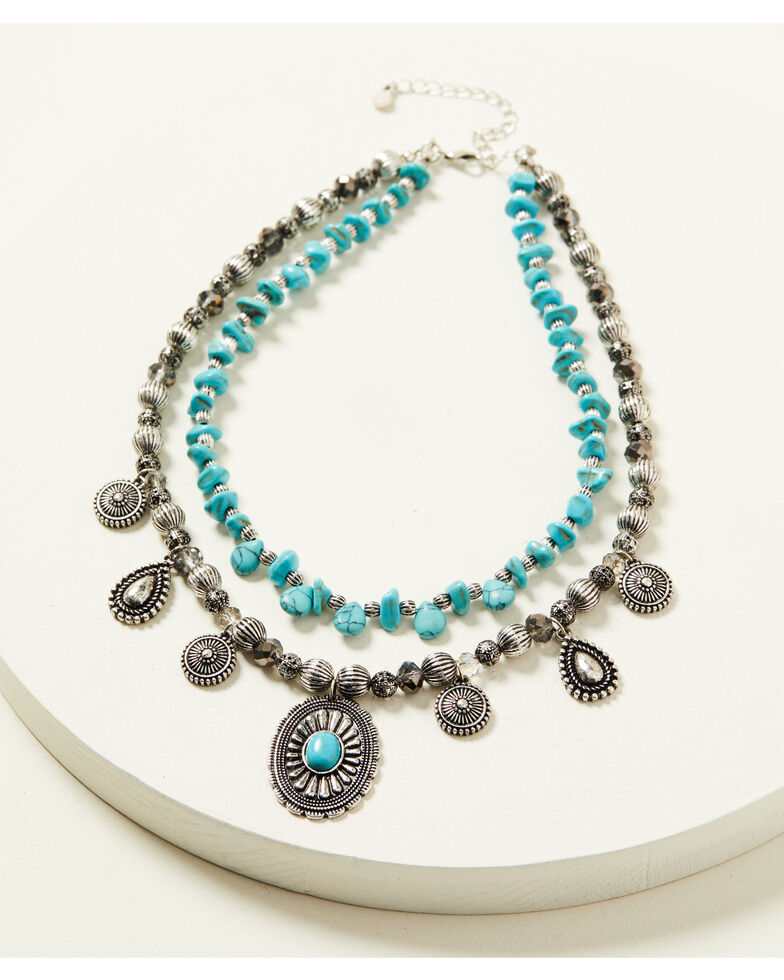 Shyanne Women's Shimmer Concho Multi Layered Turquoise Beaded Necklace, Silver, hi-res