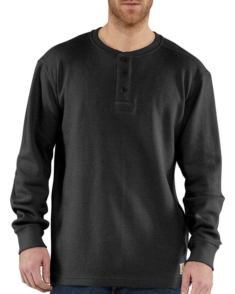 Carhartt Textured Knit Henley Long Sleeve Shirt - Big & Tall, Black, hi-res