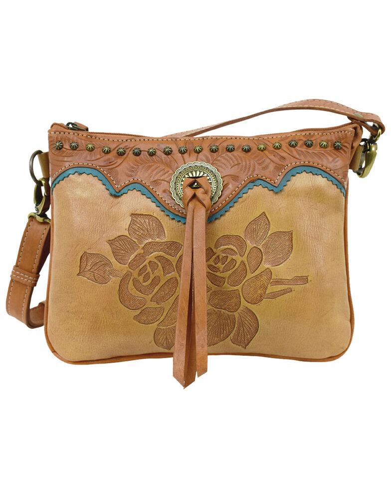 American West Women's Texas Rose Crossbody Bag, Tan, hi-res
