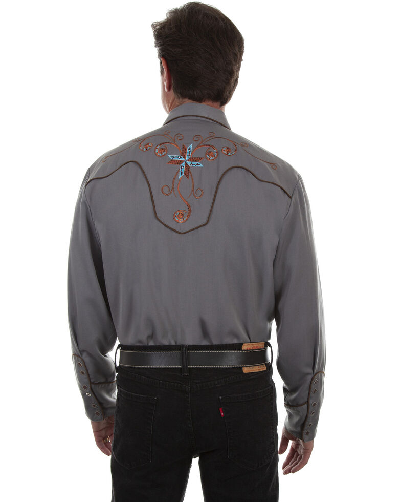 Scully Men's Embroidered Western Long Sleeve Shirt, Grey, hi-res