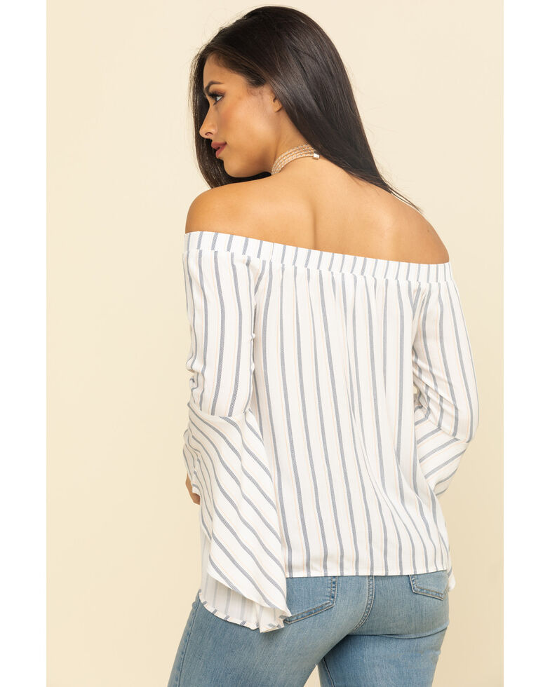 Shyanne Women's Stripe Bell Sleeve Off The Shoulder Top, Ivory, hi-res
