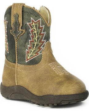 Roper Infant Boys' Cowbaby Arrowheads Pre-Walker Cowboy Boots - Round Toe, Tan, hi-res