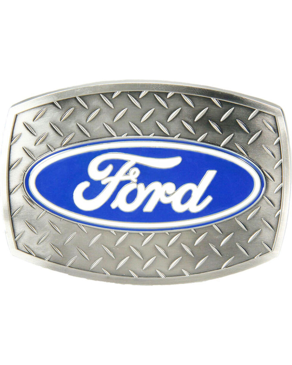 Western Express Men's Silver New-Ford Diamond Plate Belt Buckle , Silver, hi-res