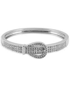 Kelly Herd Women's Pave Buckle Cuff Bracelet , Silver, hi-res
