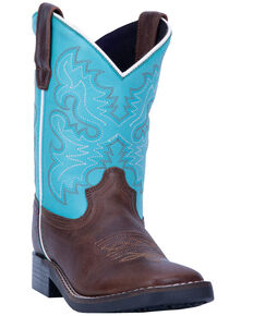 Dan Post Boys' Blue Punky Western Boots - Wide Square Toe, Brown/blue, hi-res