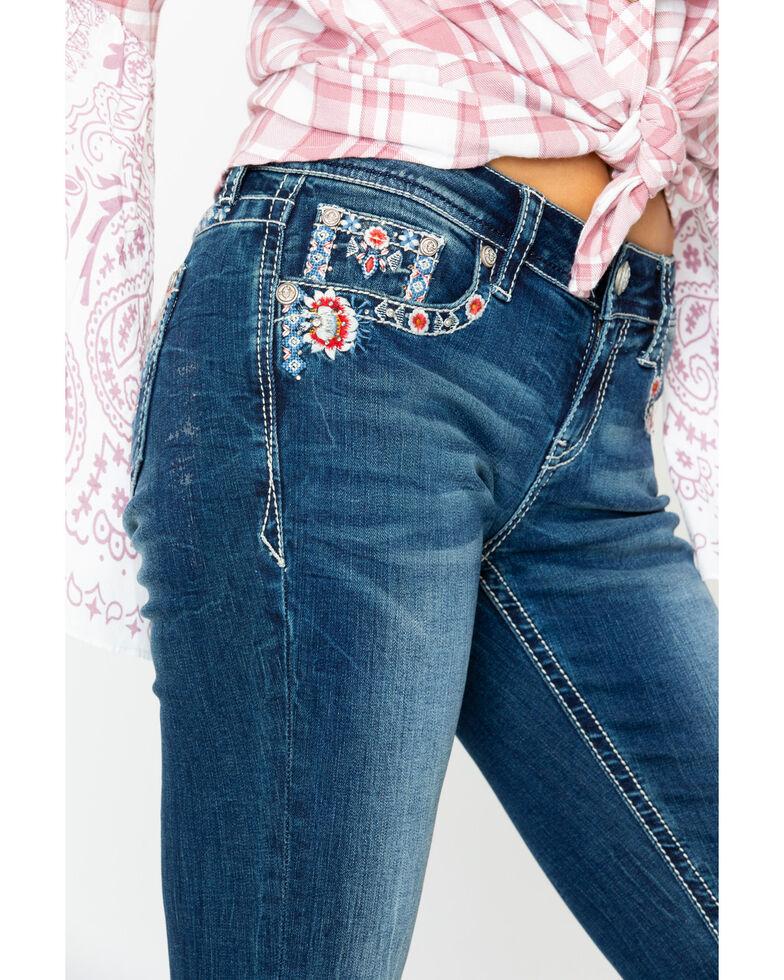 Grace In LA Women's Floral Embroidered Dark Boot Jeans, Indigo, hi-res