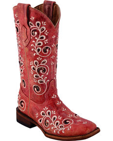 Ferrini Women's Rockin' Cowgirl Red Cowgirl Boots - Square Toe, Red, hi-res